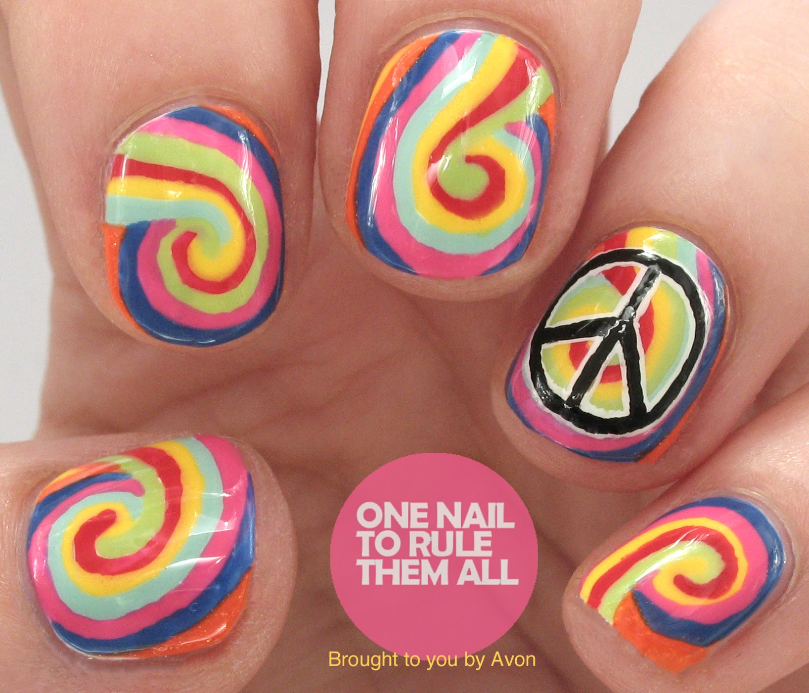 One Nail To Rule Them All Crazy Peace Nail Art For Avon