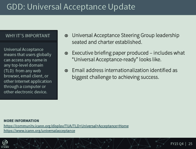 Universal Acceptance screenshot from ICANN Quarterly Stakeholder Call August 20, 2015
