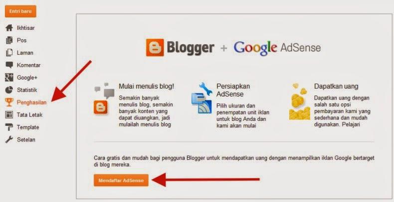klik tombol Mendaftar AdSense