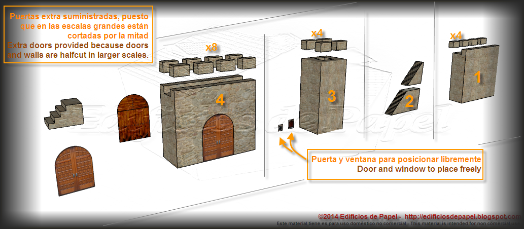 Medieval Wall paper model is made out of several components
