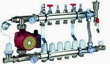 Station de mélange - collecteur avec moteur pour plancher chauffant