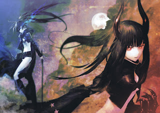 Black Rock Shooter Black Gold Saw Anime Girl Black Sword Arm Guard Horn Moon Blue Flam Eye HD Wallpaper Desktop PC Background