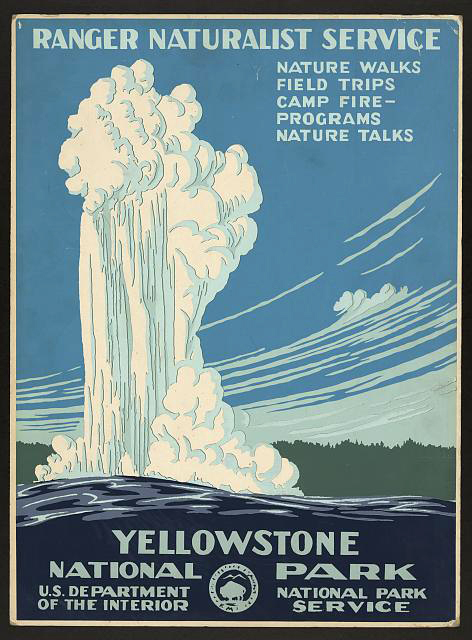 classic posters, free download, graphic design, national park, retro prints, travel, travel posters, vintage, vintage posters, wpa, national park, Yellowstone National Park, US Dept of Interior - Vintage Travel Poster