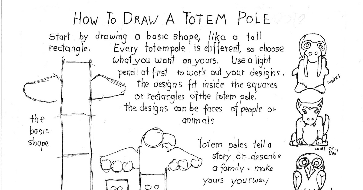 how to draw animals on a totem pole