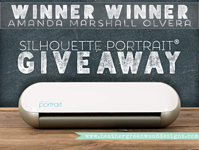 winner announced for the Silhouette Portrait® Giveaway sponsored by Silhouette America, and a reminder that the Black Friday specials are still going on.
