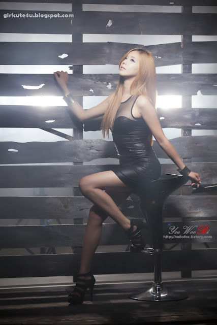 3 Kim Ha Yul-Leather Mini Dress-very cute asian girl-girlcute4u.blogspot.com