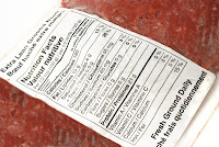 Ground beef package with Nutrition Facts label