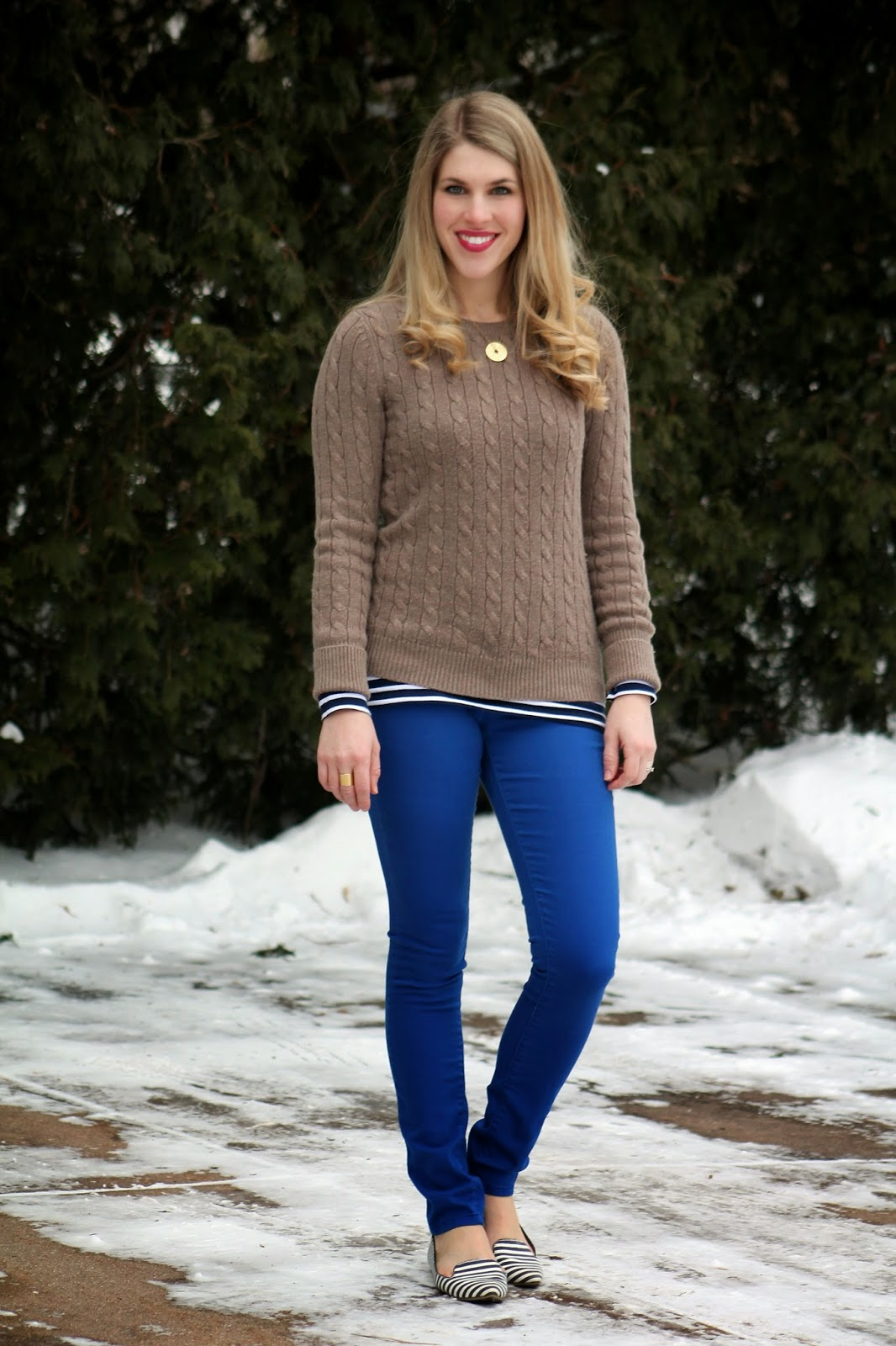 camel sweater with stripes and cobalt skinnies