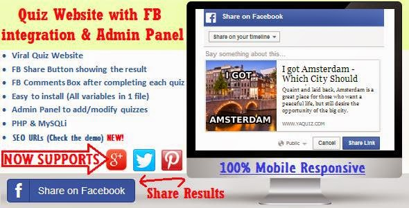Facebook Viral Quiz Website with Admin Panel