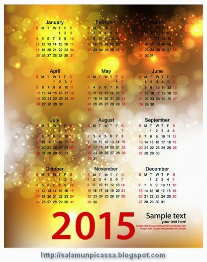 Colorful Bubbles Calendar 2015 Vector