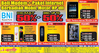 APOLLO NOKIA GSM-CDMA CENTER: Promo Modem Hemat 50% dengan BNI Reward