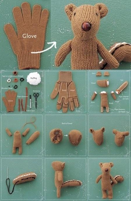 como fazer um ursinho usando uma luva reaproveitar