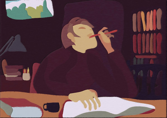 A digital painting of a man in an office writing a book