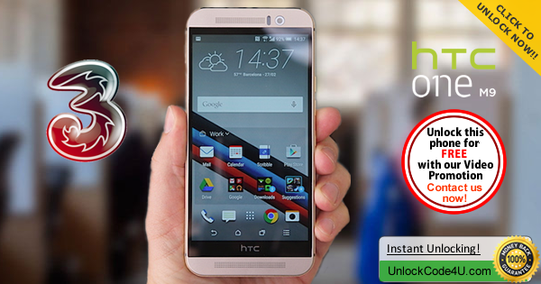 Factory Unlock Code HTC One M9 from Three Network