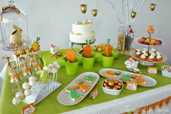 Vue générale Sweet table lapin de Pâques