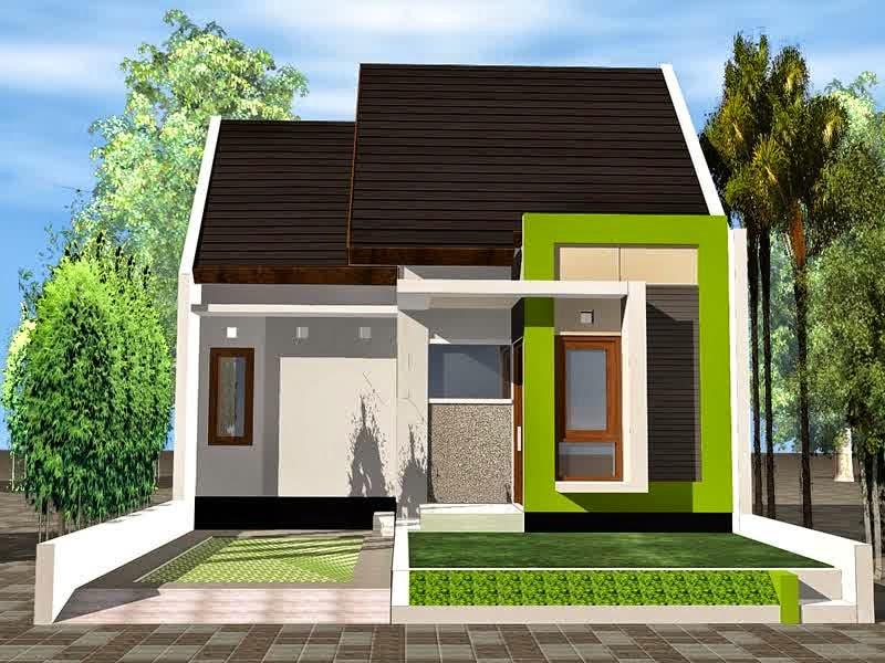 Contoh Desain Rumah Mungil 1 Lantai Tipe 36 Warna Hijau