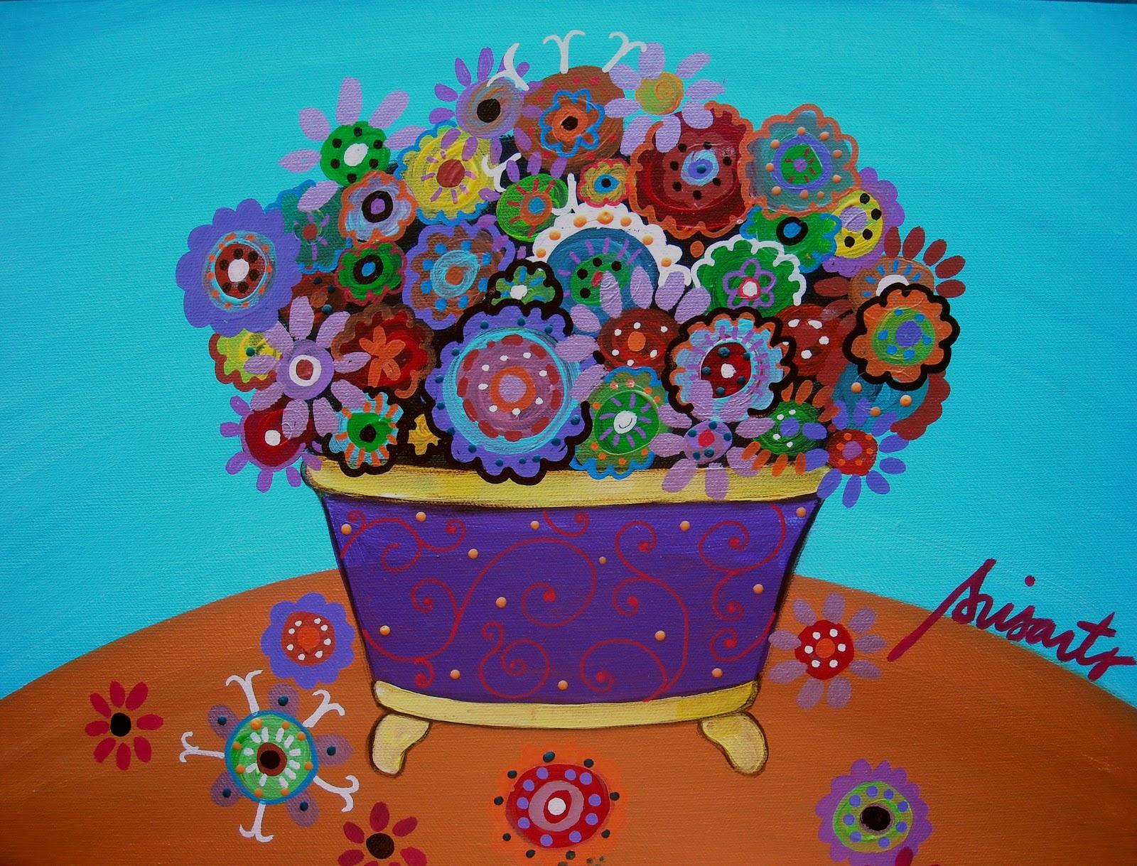 Gallery of Modern Folk Artist Pristine Cartera Turkus MEXICAN FLOWER BLOOMS