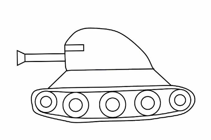 رسم دبابة بسيطة جدا للاطفال والتلوين