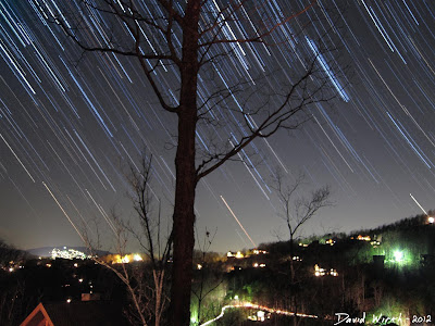 Star trails over gatlinburg tennessee
