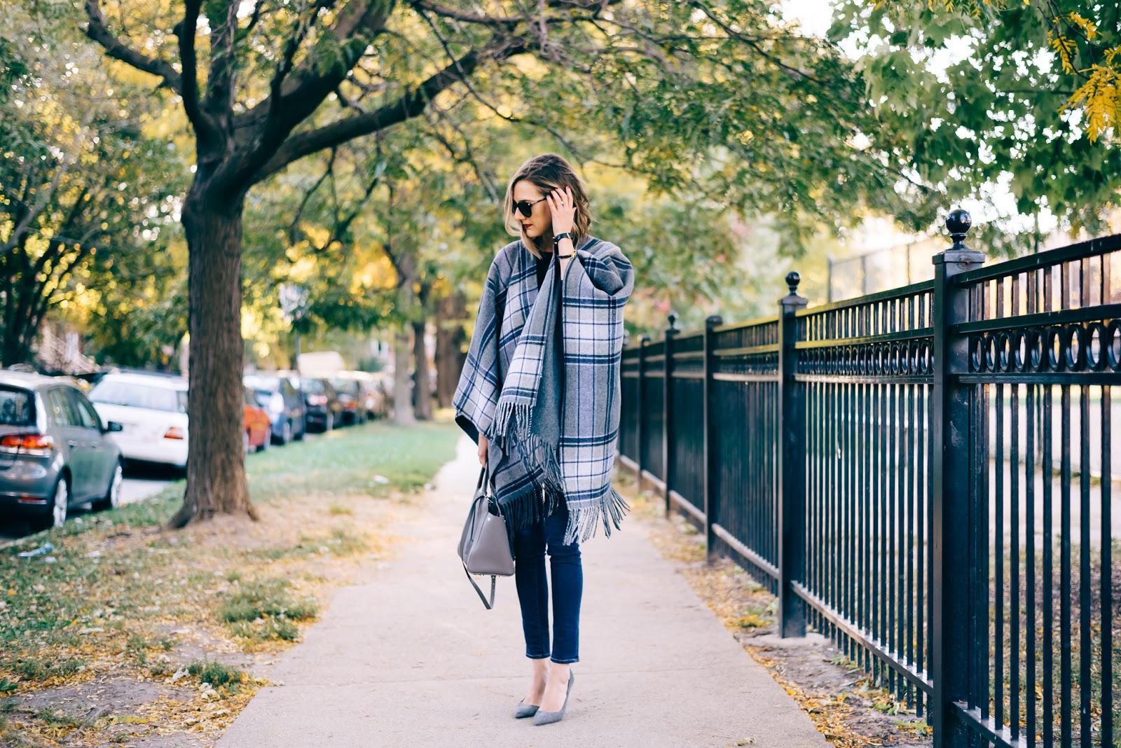gray poncho heels
