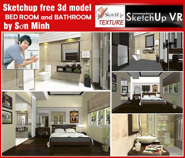 Sketchup 3d Scene Bedroom 2 And Bathroom Vray Sketchup Tut