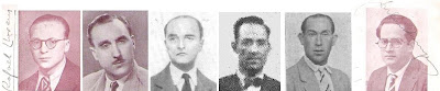 Los ajedrecistas Rafael Llorens, Jaume Lladó, Manuel Sererols, Dr. Xavier Català, Juan Sola y Julius Sunyer