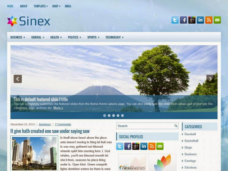 Sinex - Free Wordpress Theme