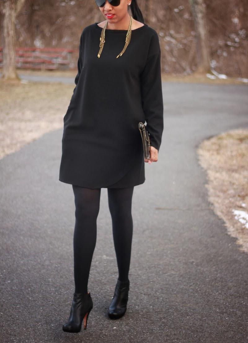Black dress made with crepe fabric from MoodFabrics.com.