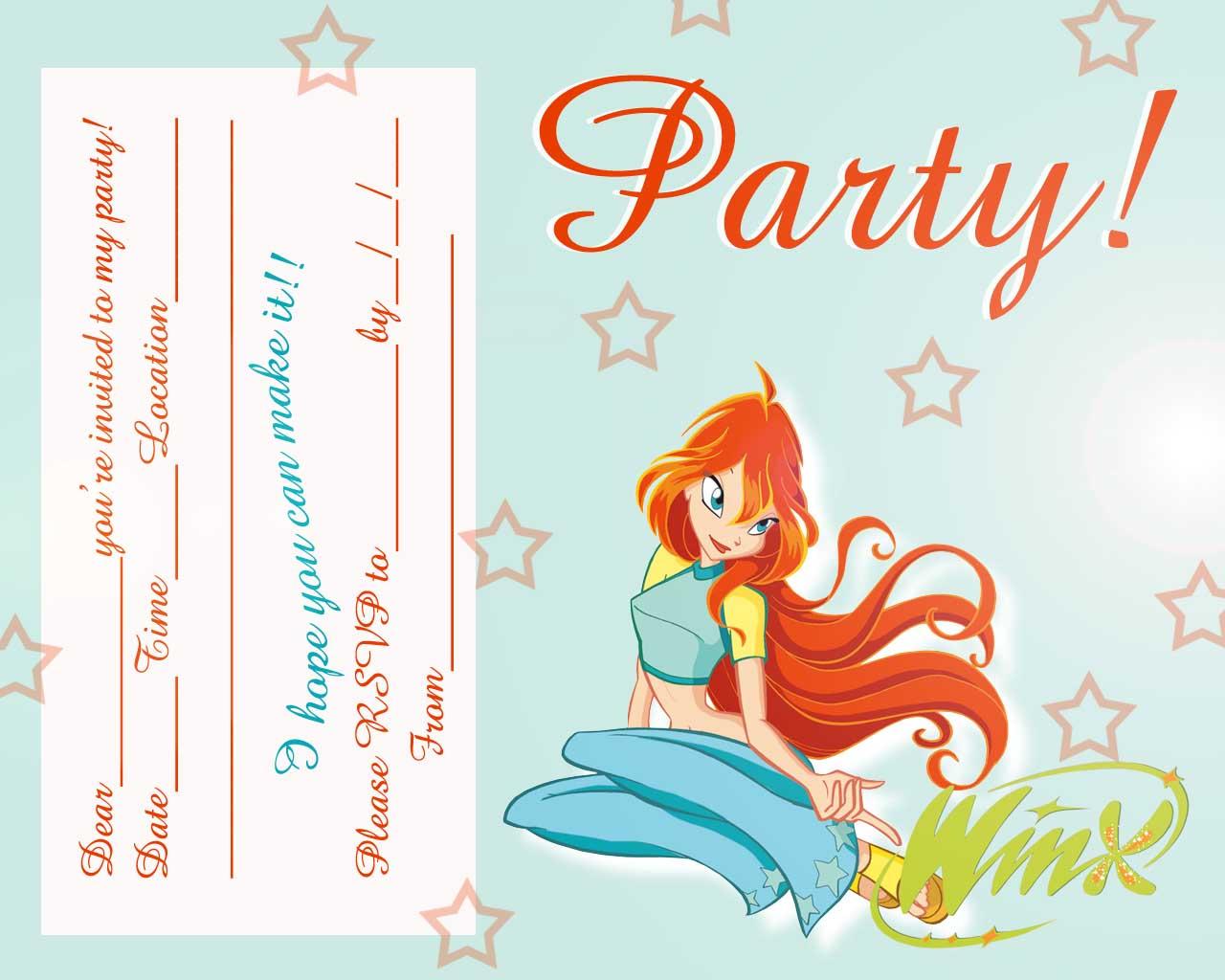 Free Love Quotes FREE Winx Club Fairis Printable Party Invitation