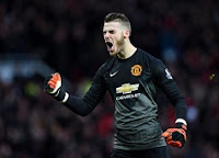 David De Gea of Manchester United celebrates the first goal against Liverpool