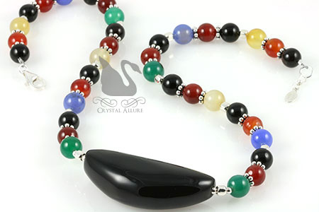 Onyx Indian Agate Gemstone Beaded Necklace (N092)