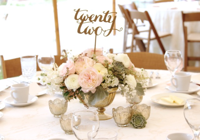 gold mercury glass centerpiece with garden roses, kiera and white ranunculus strata astilbe and babies breath pieres andromeda for misty farms misty valley ann arbor wedding by Sweet Pea Floral Design Detroit