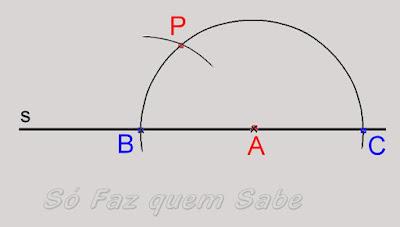 Determinação da abertura do compasso com o tamanho do segmento BP