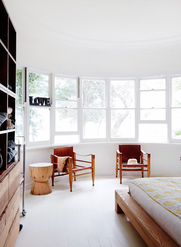 Borge Mogensen leather campaign chairs in the main bedroom 2014
