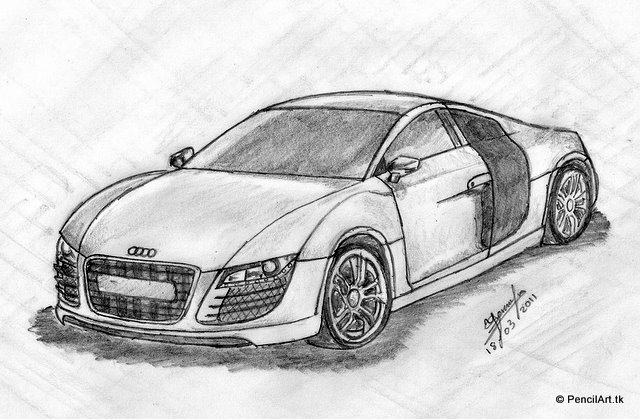Pencil Arttk Pencil Sketches Vector Graphics Audi R - Audi car drawing