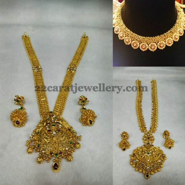 with jewelsome gold jhumka heavy tag necklace