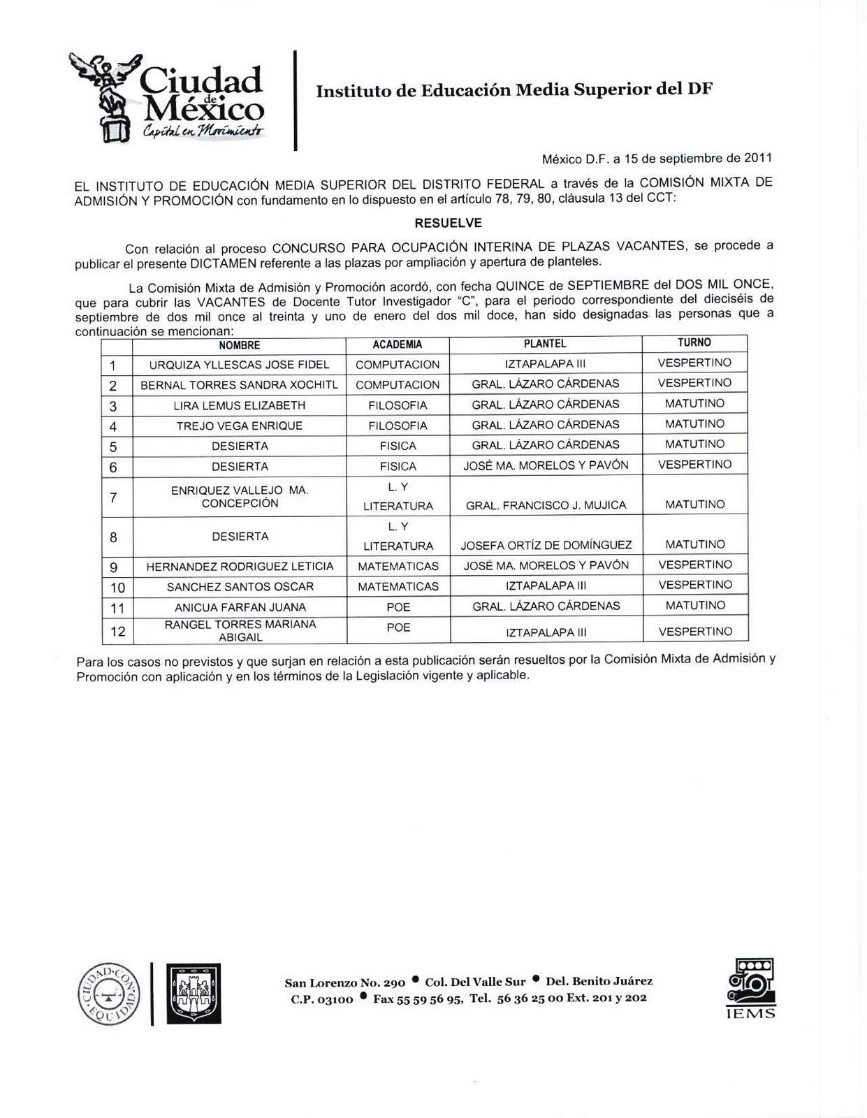 La hormiga de la base resultados plazas docentes 2011 for Convocatoria para plazas docentes