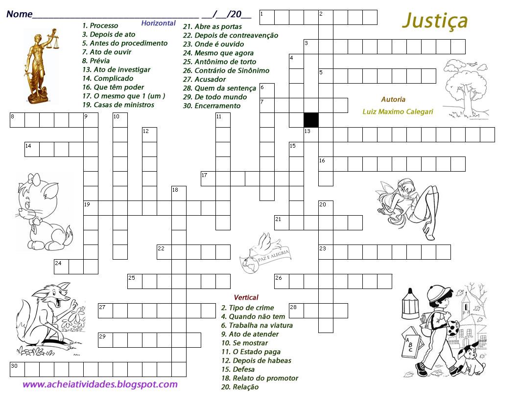 Atividades Escolares: Cruzadinha - Justiu00e7a