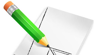 Draw a pencil and notepad icon