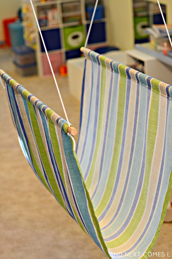Homemade taco sensory swing tutorial from And Next Comes L
