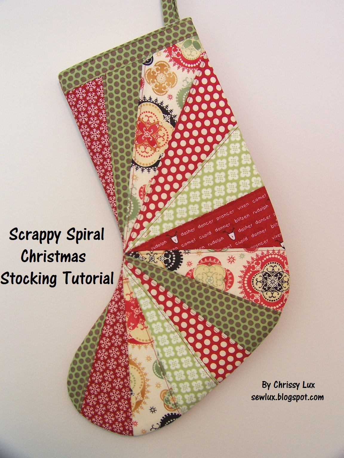 Sew Lux Fabric : Blog: Scrappy Spiral Stocking Tutorial : pattern for quilted christmas stocking - Adamdwight.com