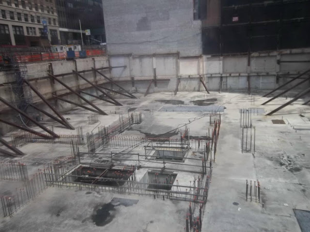 Photo of finished foundations for 30 Park Place skyscraper