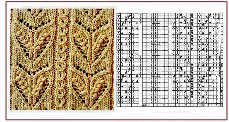 12 patrones de motivos para tejer con dos agujas