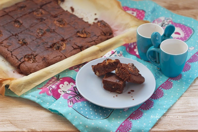 Brownie de chocolate y nueces, reto asaltablogs