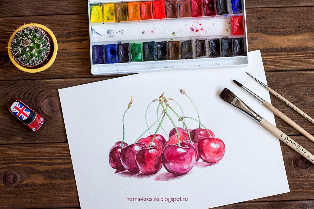 акварель, хомкины крестики, черешня, watercolor