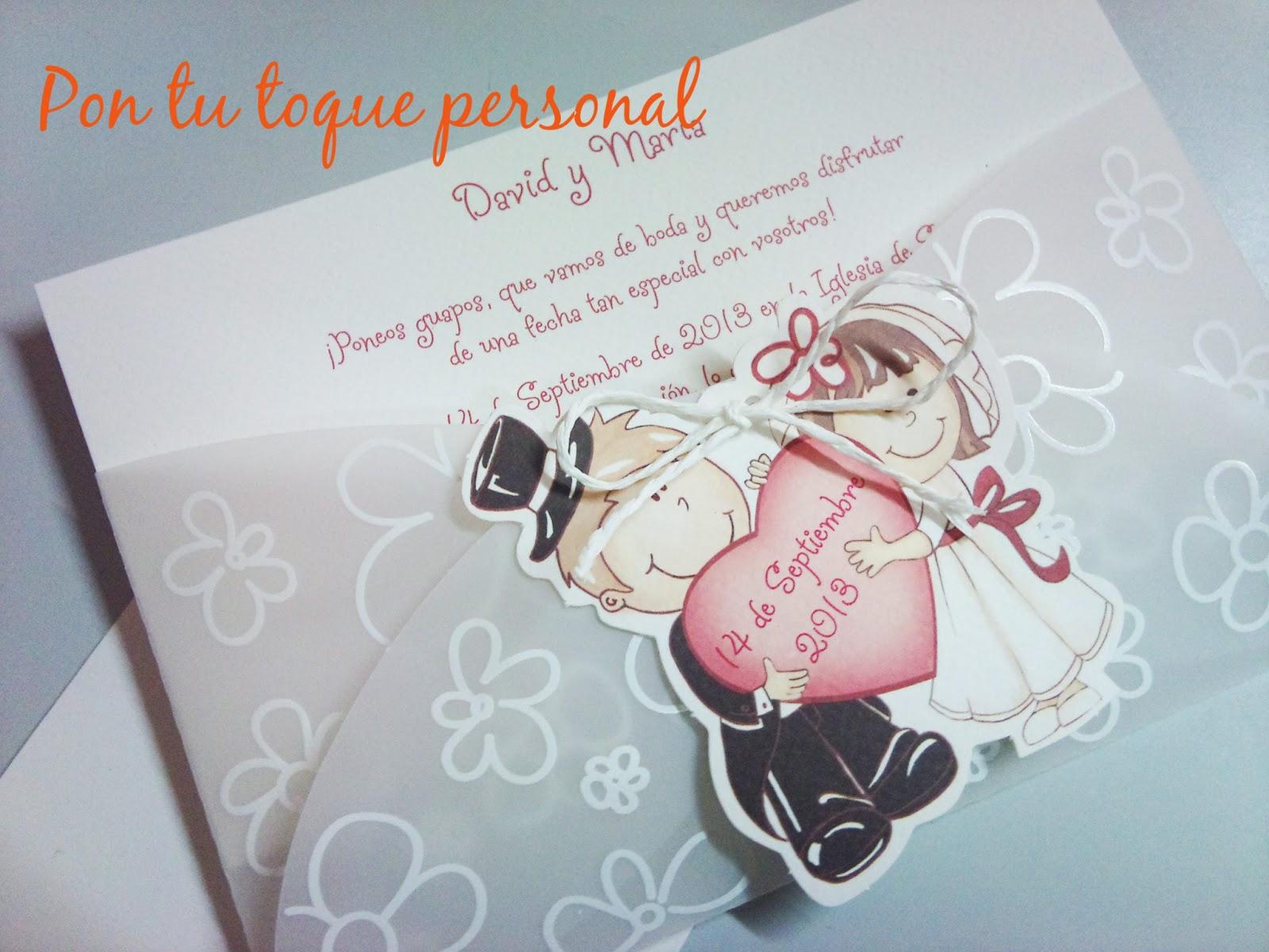 Pon Tu Toque Personal Invitacion De Boda Con Silueta De Novios - Ver-invitaciones-de-boda