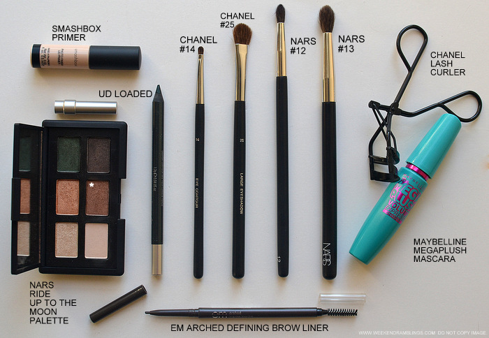 Bronze Brown Eye Makeup NARS Fez eyeshadow - Urban Decay Pencil Eyeliner Loaded - Chanel Eye Makeup Brushes Lash curler Smashbox Primer maybelline mascara