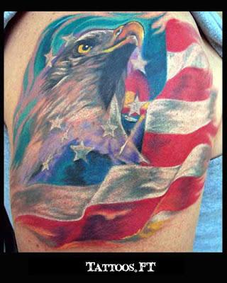 tattoos com Aguia Simbolo da America no braco