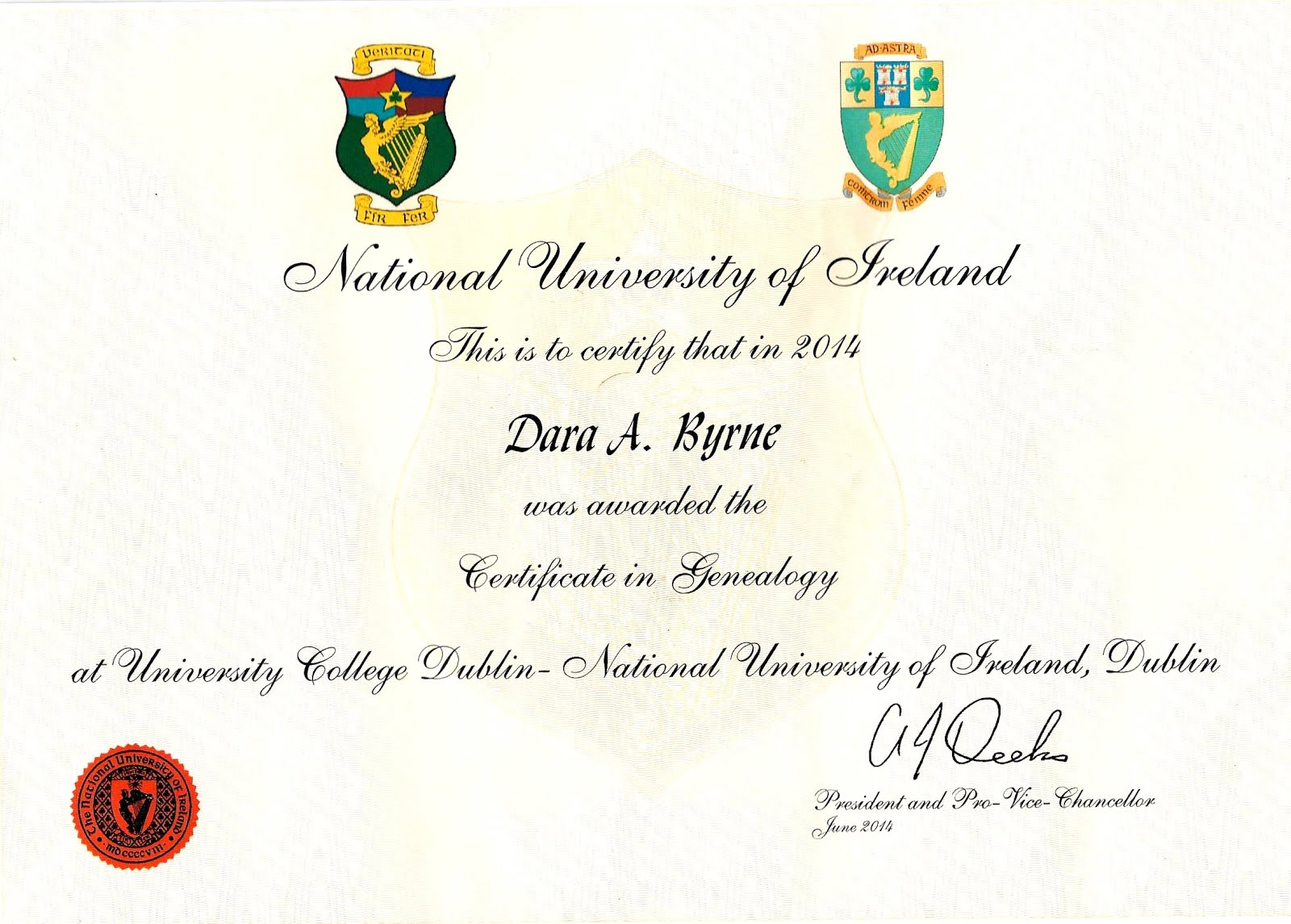 Certificate in Genealogy, 2014