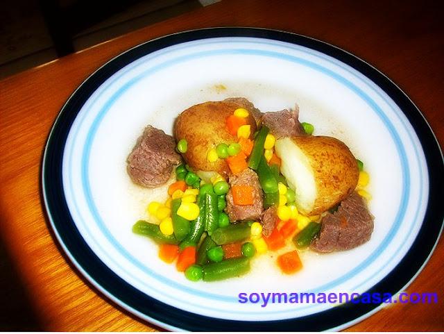 receta de carne de res con verduras